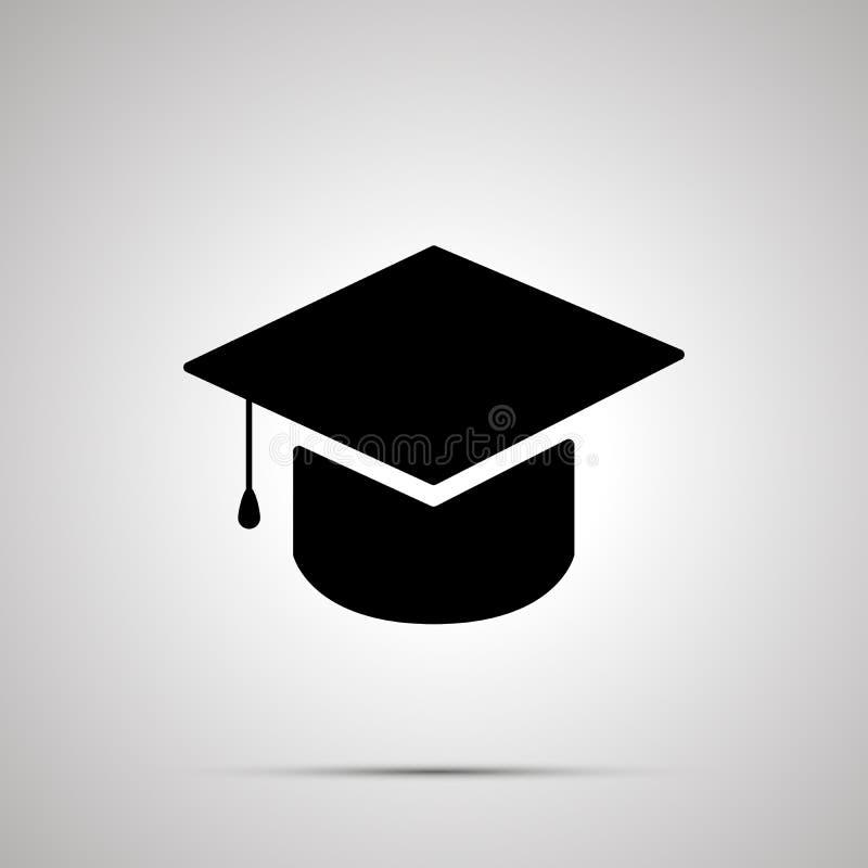 Silhouette de chapeau d'obtention du diplôme, icône noire simple illustration de vecteur