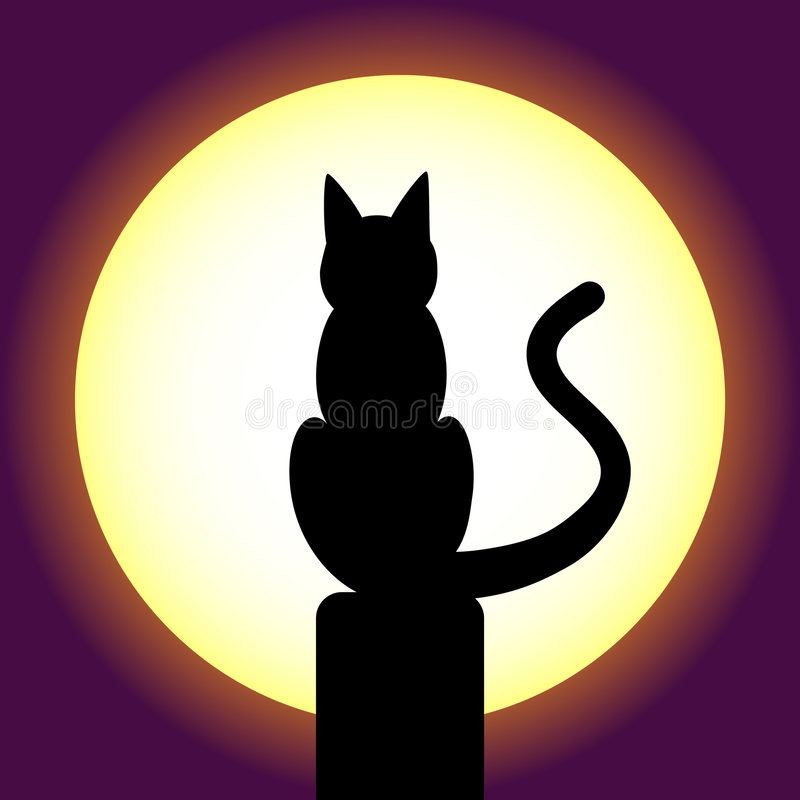 Silhouette de chat illustration de vecteur