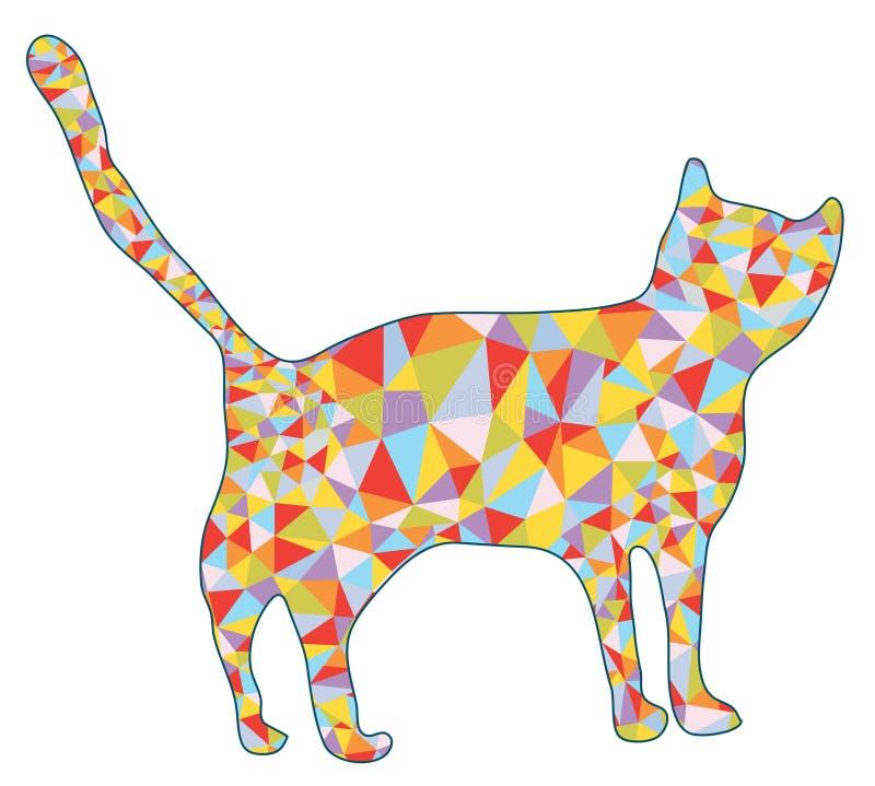 Silhouette de chat avec la conception de mosaïque illustration de vecteur
