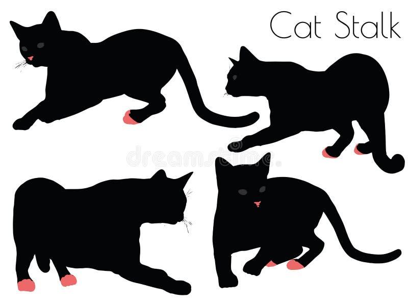 silhouette de chat dans la pose de tige illustration stock