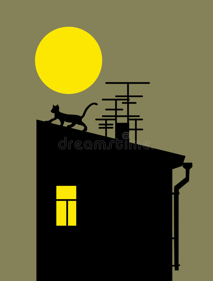 silhouette de chat sur le toit la maison illustration stock illustration du lune signe. Black Bedroom Furniture Sets. Home Design Ideas
