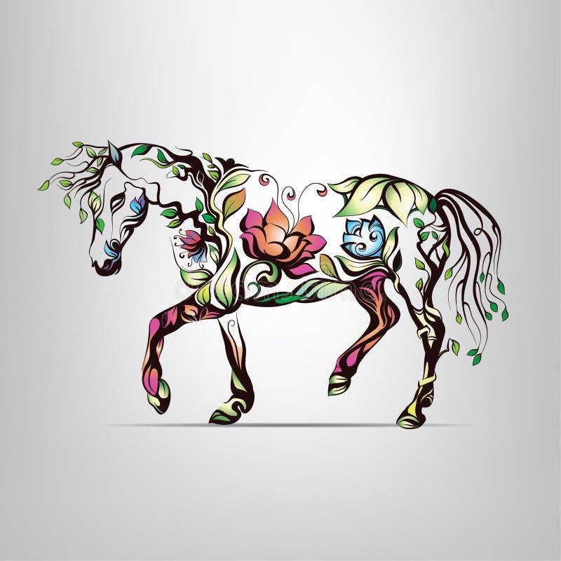 Silhouette de cheval d'ornement floral photos stock