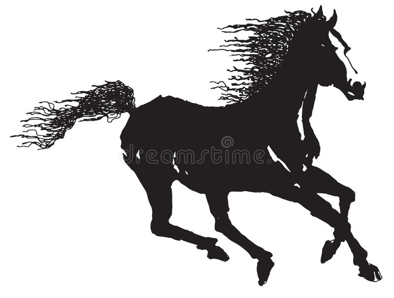 Silhouette de cheval galopant illustration de vecteur