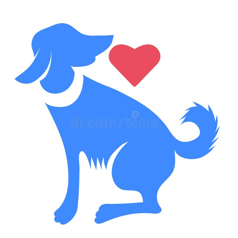 Silhouette de chien bleu avec le coeur rouge d'isolement illustration de vecteur