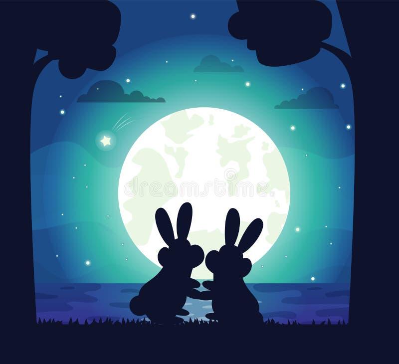 Silhouette de ciel nocturne et de Bunny Vector illustration libre de droits