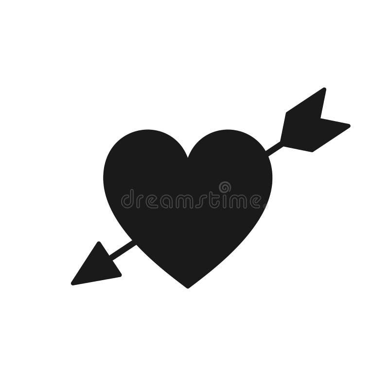 Silhouette de coeur avec la flèche Symbole de l'amour, passion D plat illustration de vecteur