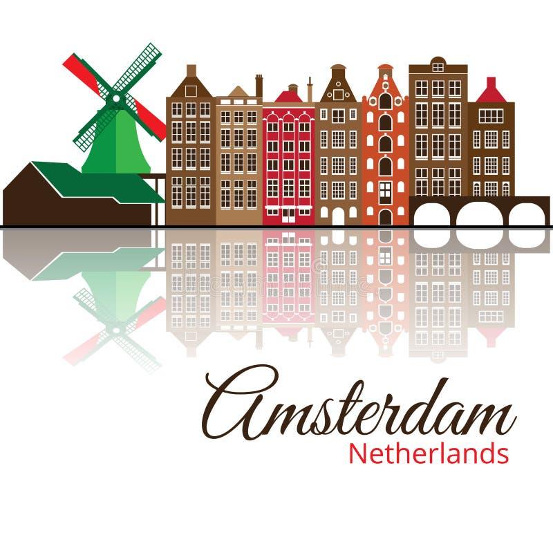Silhouette de Colorized d'Amsterdam Horizon de ville illustration de vecteur