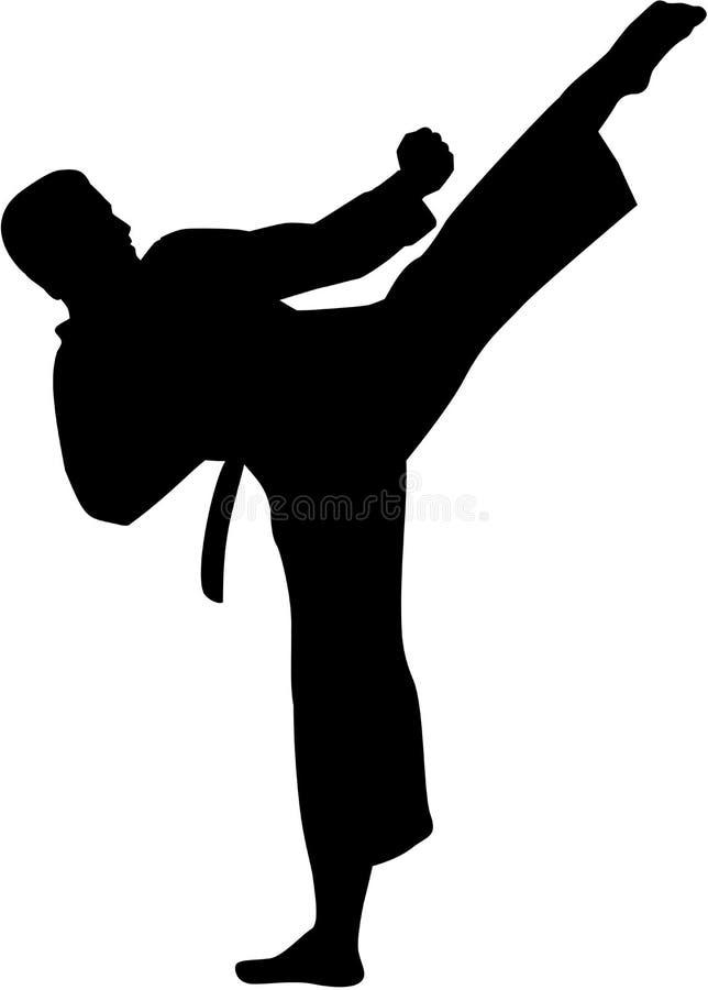 Silhouette de combattant de karaté illustration de vecteur