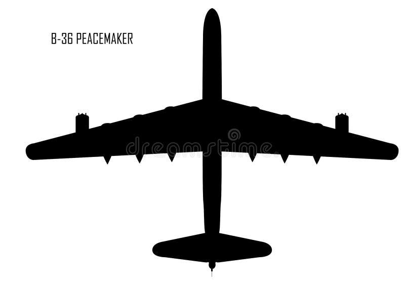 Silhouette de conciliateur de Convair B-36 illustration de vecteur
