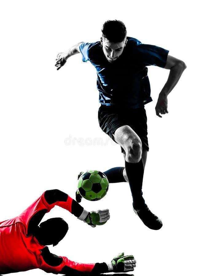 Silhouette de concurrence de gardien de but de footballeur de deux hommes images stock