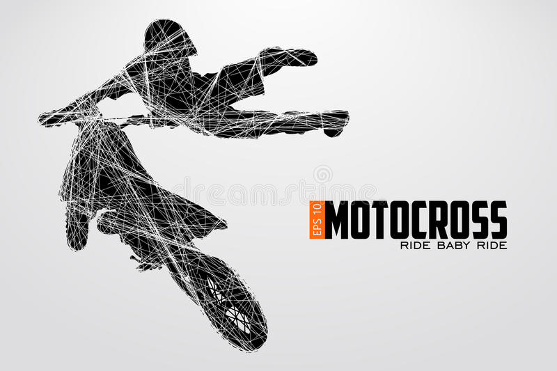 Silhouette de conducteurs de motocross Illustration de vecteur