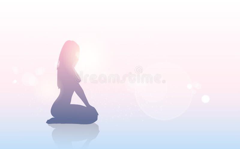 Silhouette de corps féminin de concept de conscience de cancer du sein illustration libre de droits