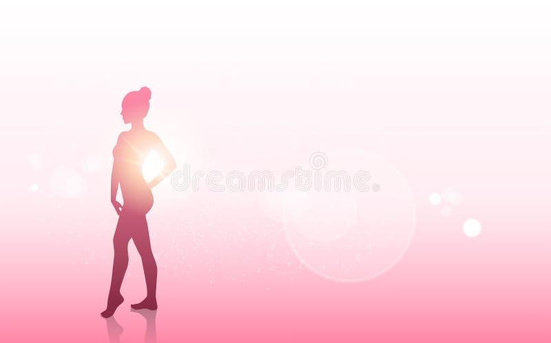 Silhouette de corps féminin de concept de conscience de cancer du sein illustration de vecteur