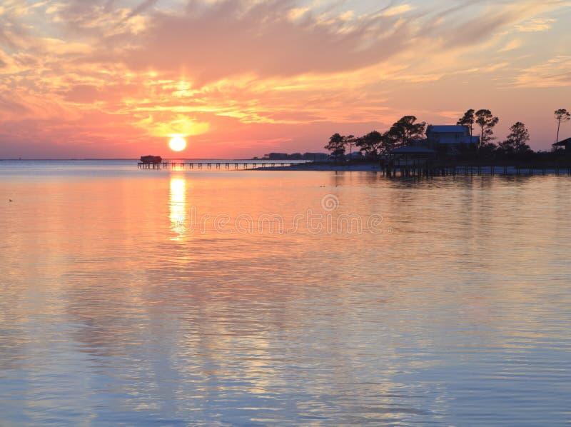 Silhouette de coucher du soleil de la Floride photos libres de droits