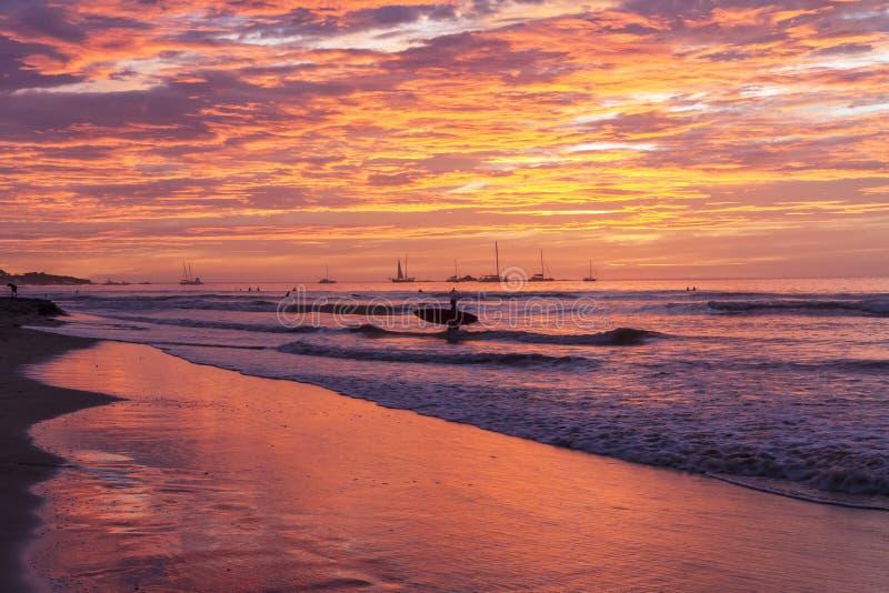 Silhouette de coucher du soleil de planche de surf photos stock