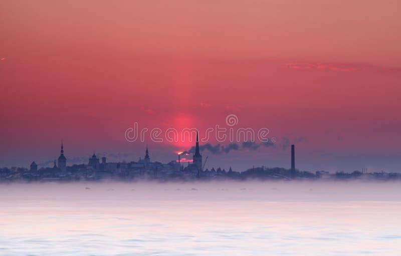 Silhouette de coucher du soleil de Tallinn photos stock