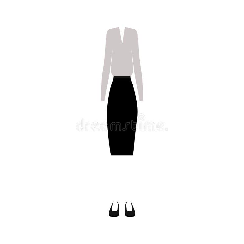 silhouette de couleur avec l'habillement femelle formel illustration stock