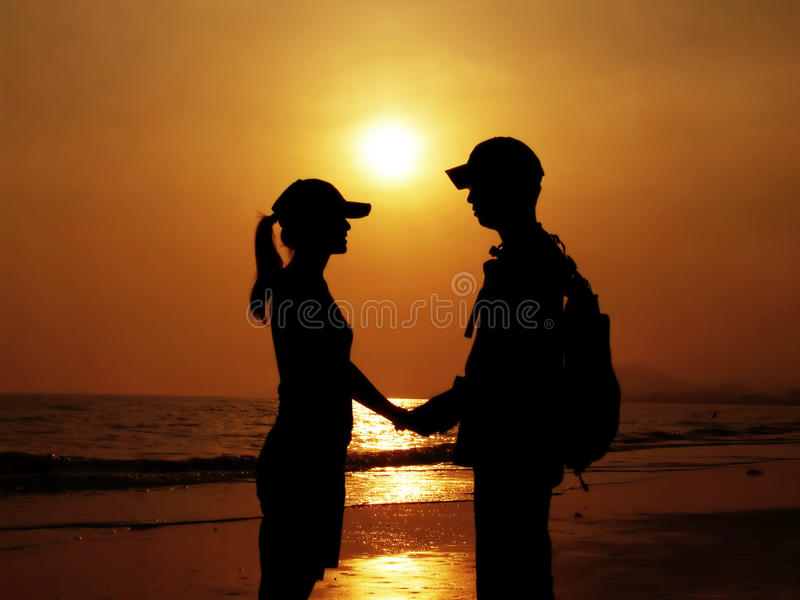 Silhouette de couples images libres de droits