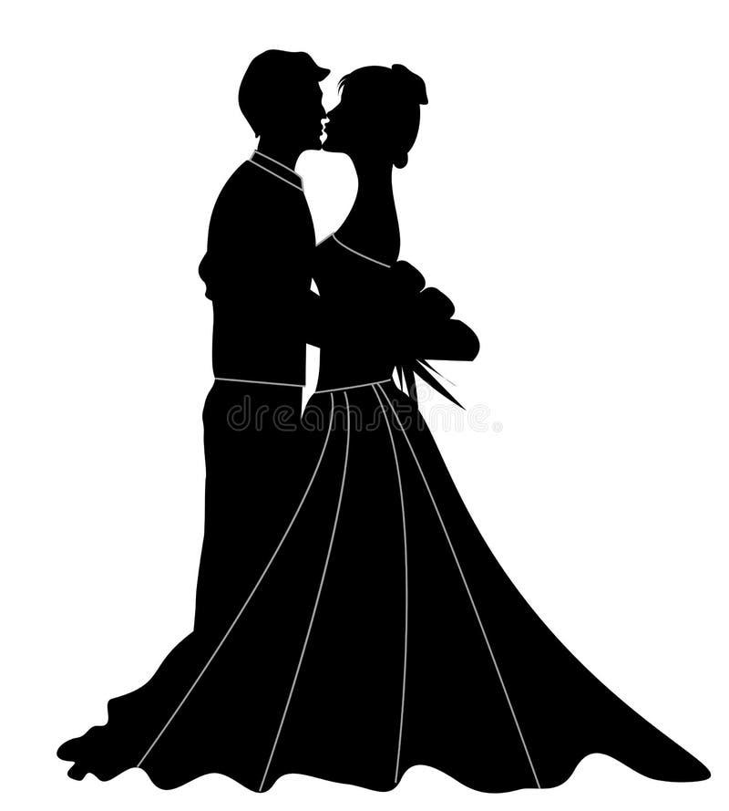 Silhouette de couples illustration stock