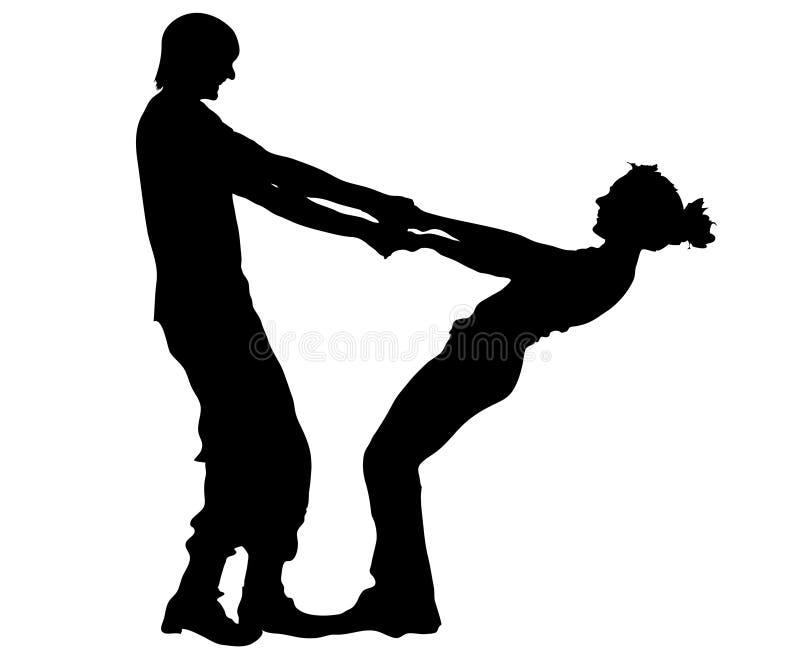 silhouette de couples illustration libre de droits
