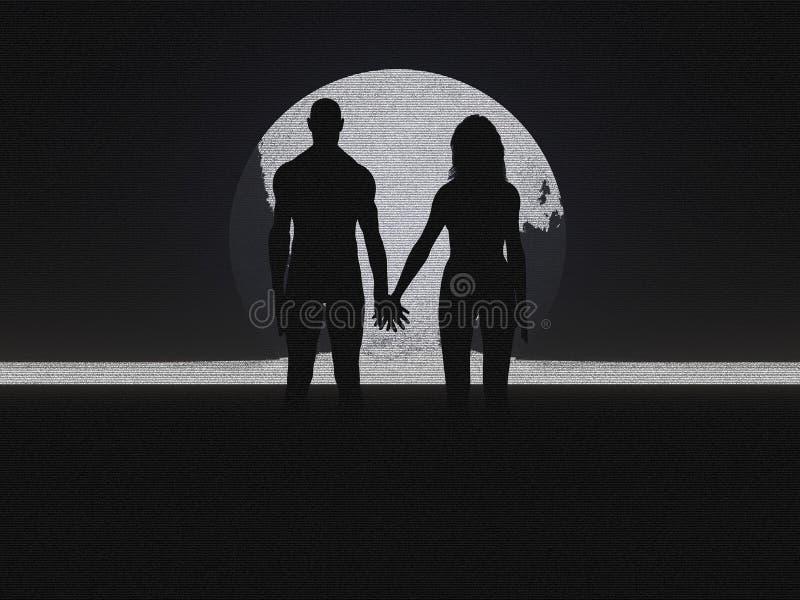 Silhouette de couples illustration de vecteur