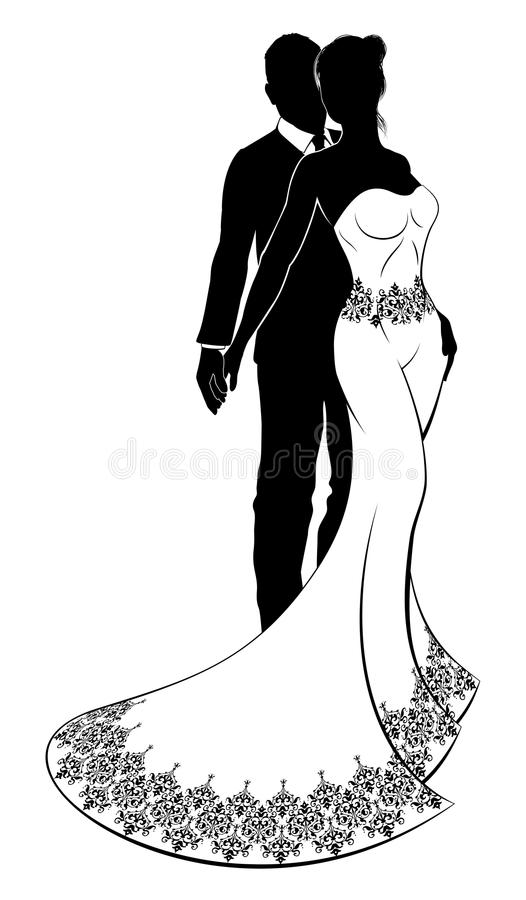 Silhouette de couples de mariage de jeunes mariés illustration de vecteur