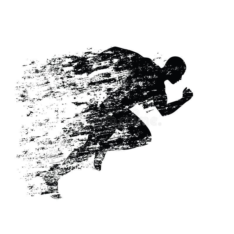 Silhouette de coureur d'éclaboussure, homme courant d'encre illustration stock