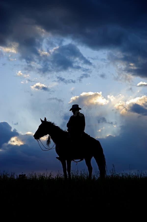 Silhouette de cowboy images libres de droits