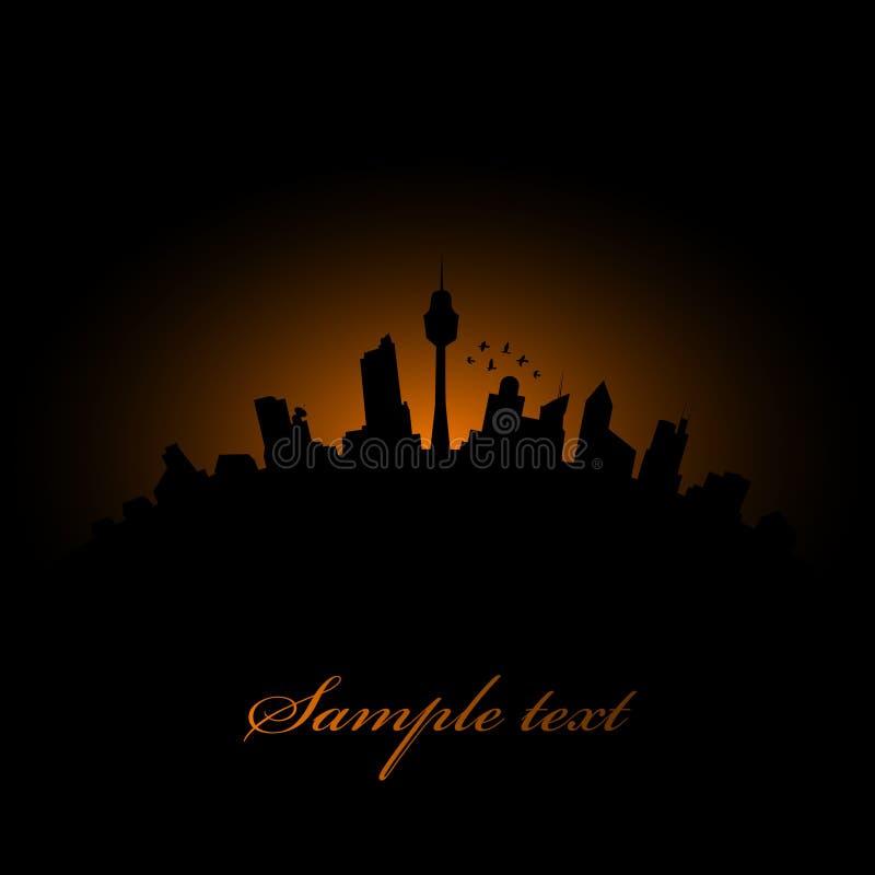 silhouette de crépuscule de ville illustration stock