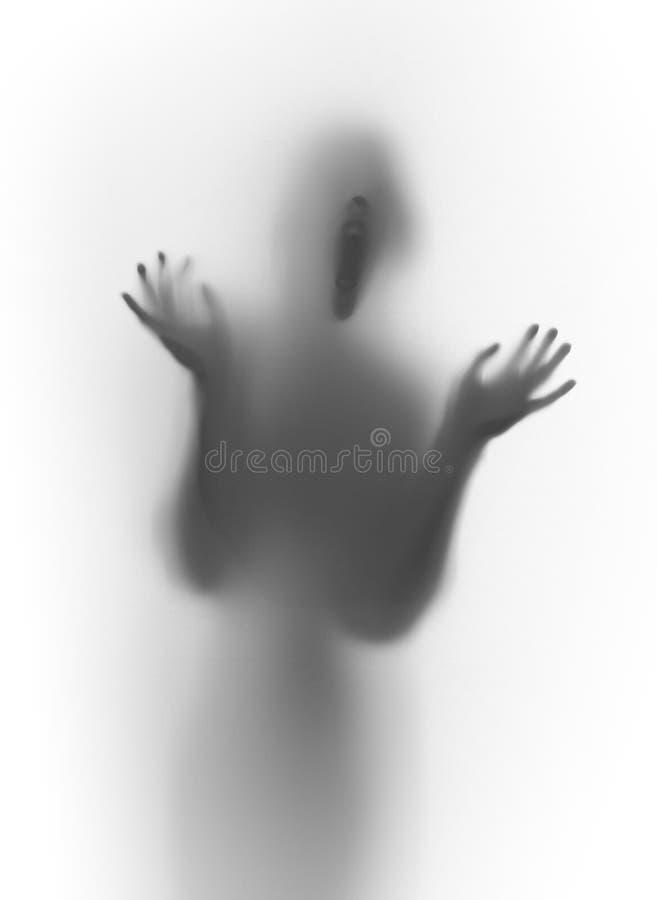 Silhouette de cri effrayante de visage et de corps avec des mains photos stock