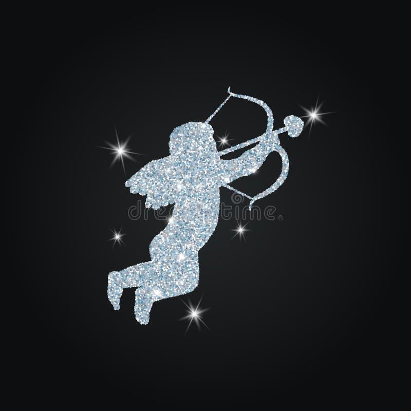Silhouette de cupidon avec des scintillements illustration libre de droits