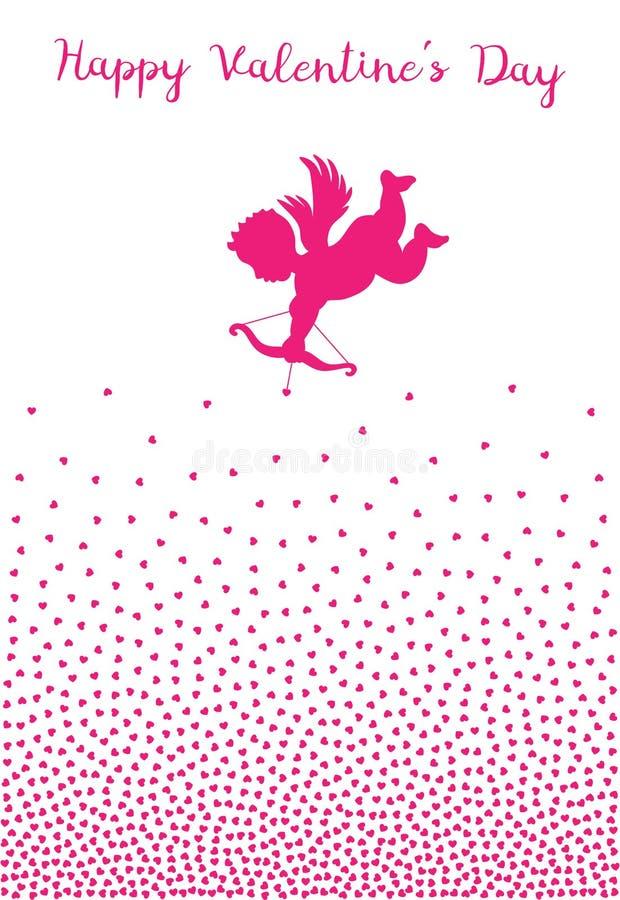 Silhouette de cupidon avec le coeur de tir à l'arc sur le fond blanc Conception de jour de valentines Ange volant rose amur Vecte illustration libre de droits