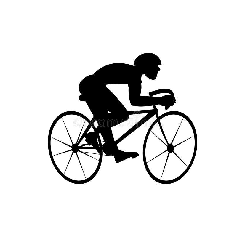 Silhouette de cycliste d'isolement sur le fond blanc Illustration noire et blanche de vecteur illustration stock