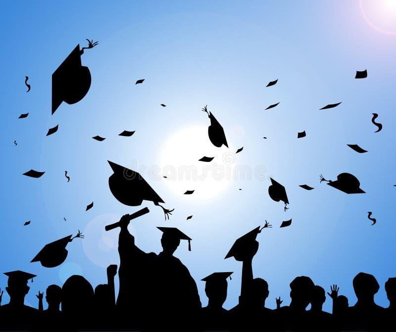 silhouette de défilé de graduation de jour illustration libre de droits