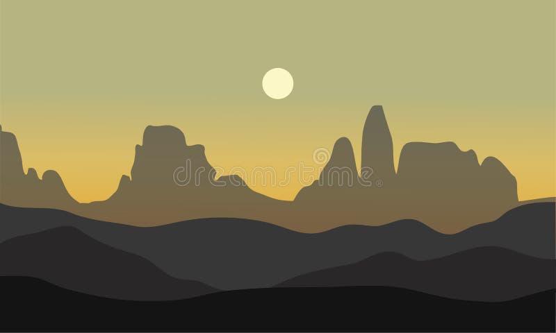 Silhouette de désert avec la lune illustration stock