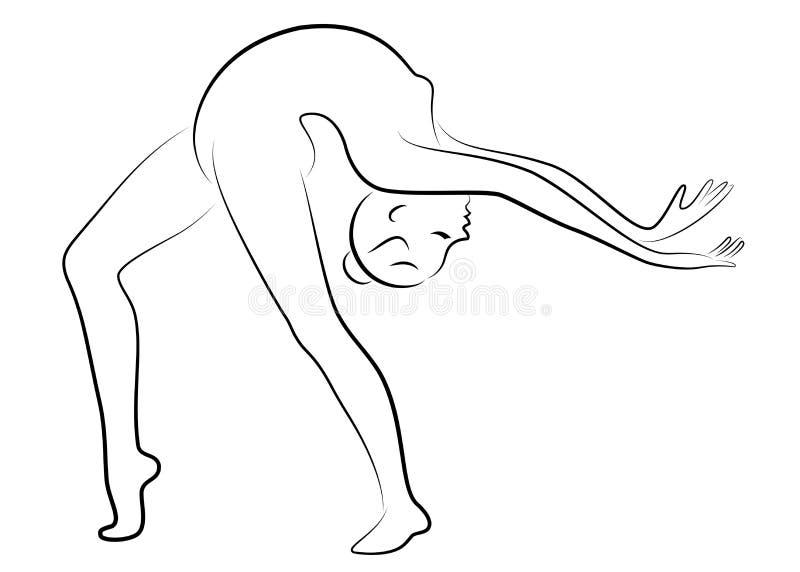 Silhouette de dame mince Le gymnaste de fille la femme est flexible et gracieux Elle saute Image graphique Vecteur illustration stock