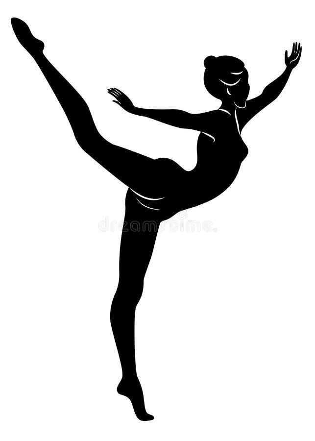 Silhouette de dame mince Le gymnaste de fille la femme est flexible et gracieux Elle saute Image graphique Vecteur Illustratio illustration libre de droits