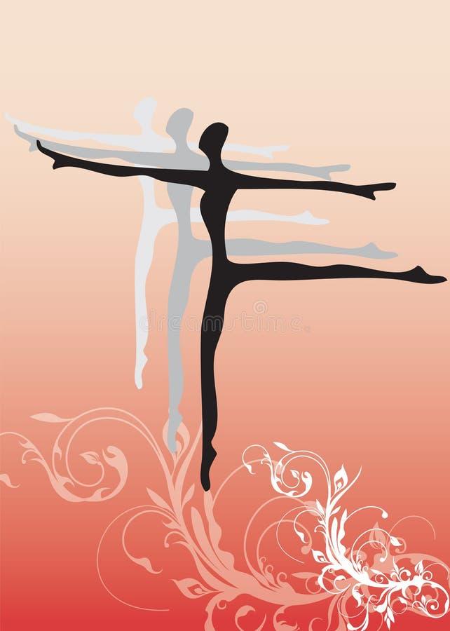 Silhouette de danseur de ballet illustration stock