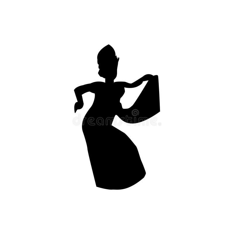 Silhouette de danseur traditionnel de balinese illustration de vecteur