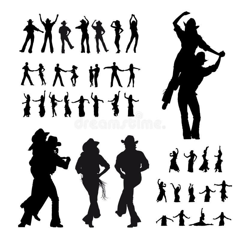 Silhouette de danseurs illustration libre de droits