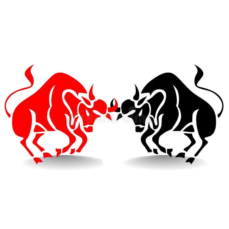 Silhouette de deux combats de taureaux rouges et noirs, marché boursier illustration de vecteur