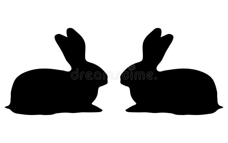 Silhouette de deux lapins sur un fond blanc illustration libre de droits