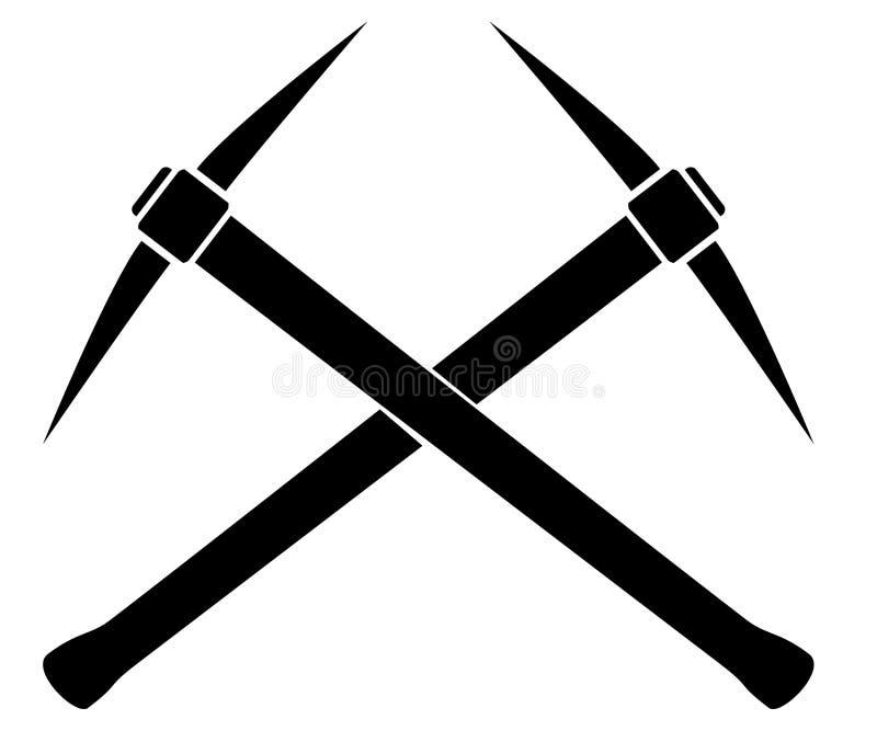 Silhouette de deux pioches croisées illustration de vecteur