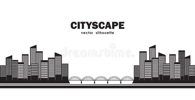 Silhouette de deux villes reliées par le pont Paysage urbain d'isolement illustration libre de droits