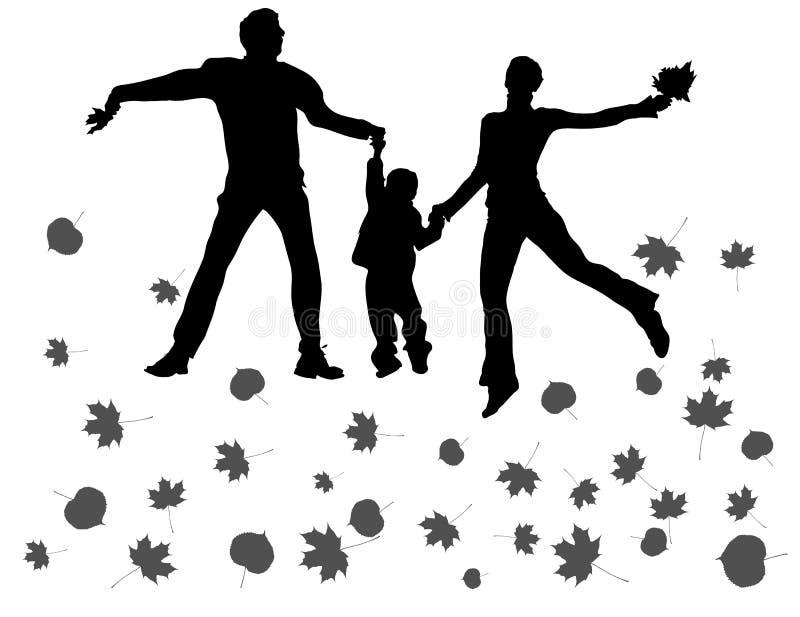 Silhouette de famille d'automne illustration stock