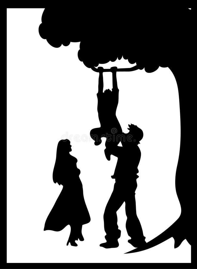 Silhouette de famille (vecteur) illustration de vecteur