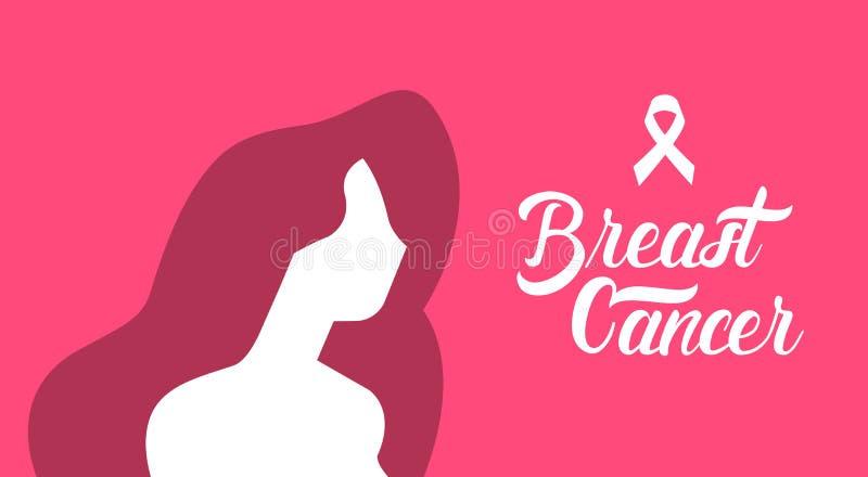 Silhouette de femelle de conscience de cancer du sein illustration libre de droits