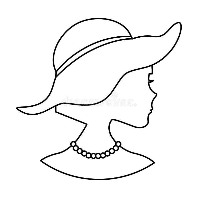 Silhouette de femme avec le chapeau élégant illustration libre de droits
