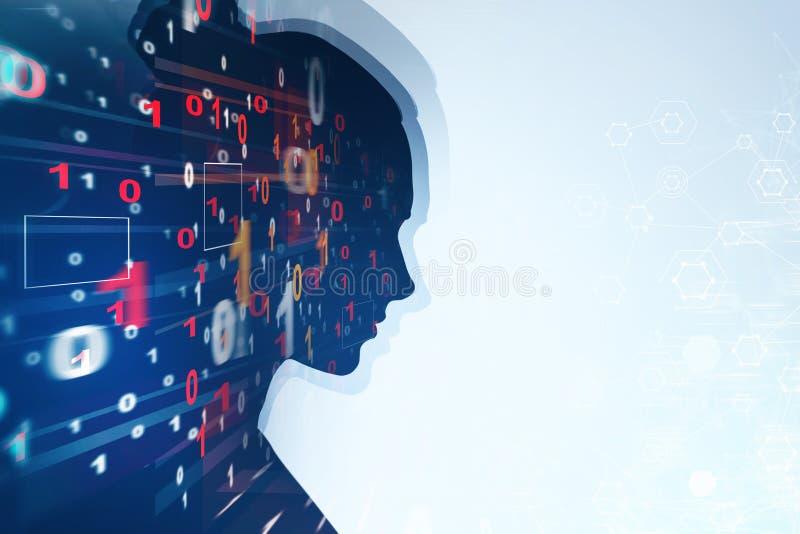 Silhouette de femme, code binaire illustration de vecteur