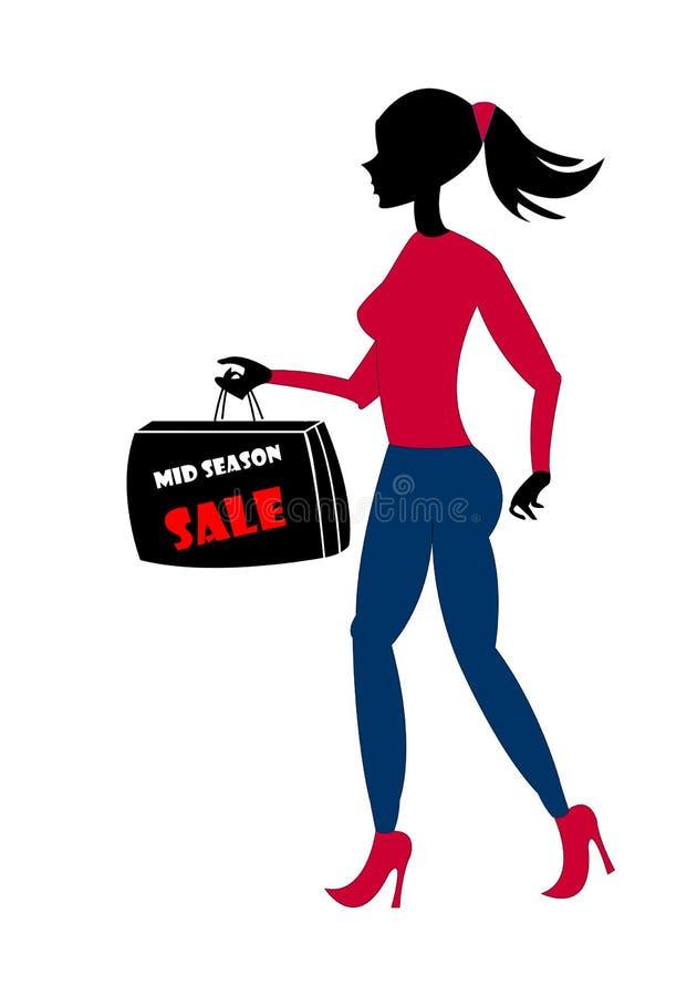 Silhouette de femme d'achats illustration de vecteur